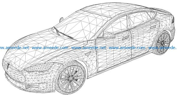 3D illusion led lamp car free vector download for laser engraving machines