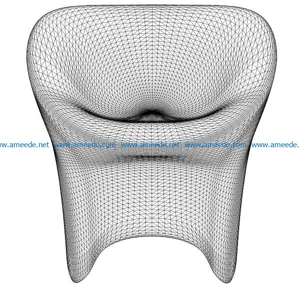 3D illusion led lamp chair free vector download for laser engraving machines