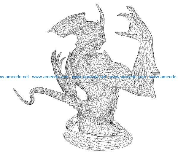 3D illusion led lamp demon bat free vector download for laser engraving machines
