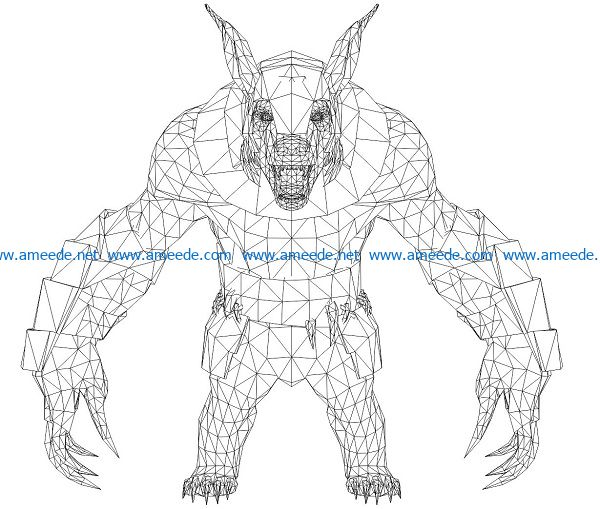 3D illusion led lamp demon wolf free vector download for laser engraving machines