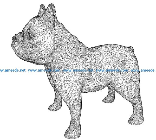 3D illusion led lamp dog pug free vector download for laser engraving machines