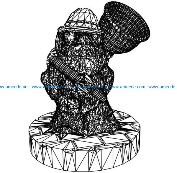 3D illusion led lamp dwarf statue free vector download for laser engraving machines