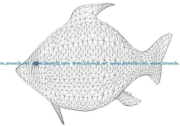 3D illusion led lamp fish free vector download for laser engraving machines