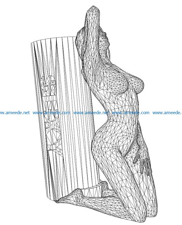 3D illusion led lamp girl leaning column free vector download for laser engraving machines