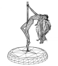 3D illusion led lamp girl swing pole free vector download for laser engraving machines
