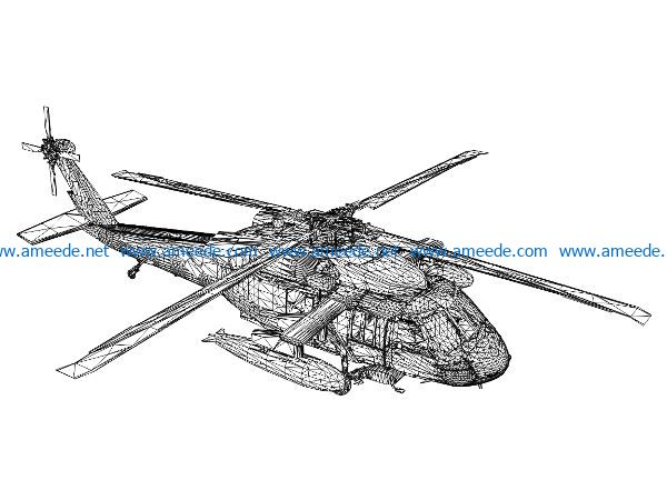 3D illusion led lamp helicopter free vector download for laser engraving machines