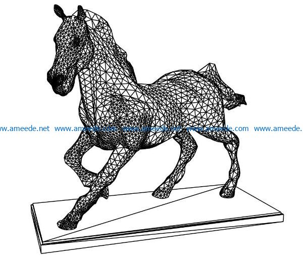 3D illusion led lamp horse free vector download for laser engraving machines