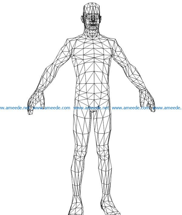 3D illusion led lamp human body free vector download for laser engraving machines