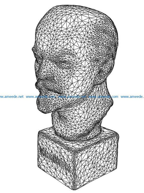 3D illusion led lamp lenin bust free vector download for laser engraving machines