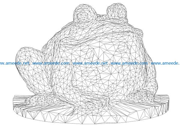 3D illusion led lamp lotus frog free vector download for laser engraving machines
