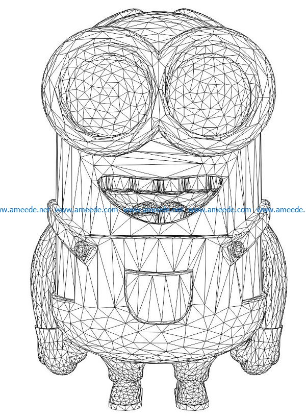 3D illusion led lamp minion troll free vector download for laser engraving machines