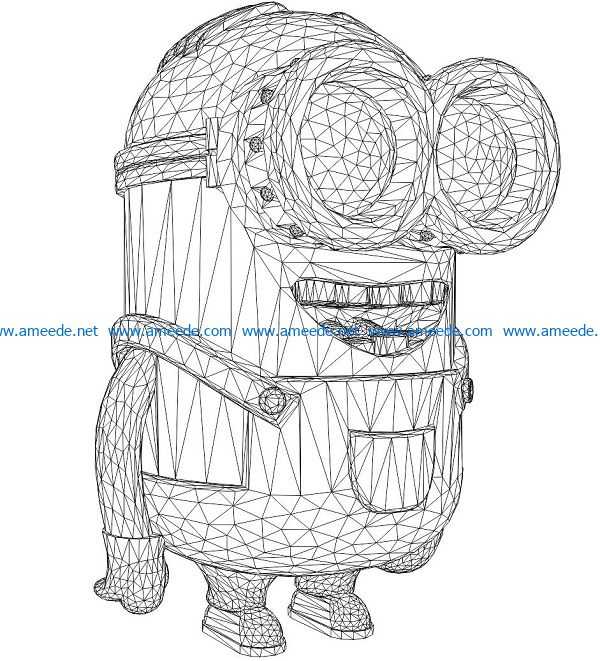 3D illusion led lamp minions free vector download for laser engraving machines