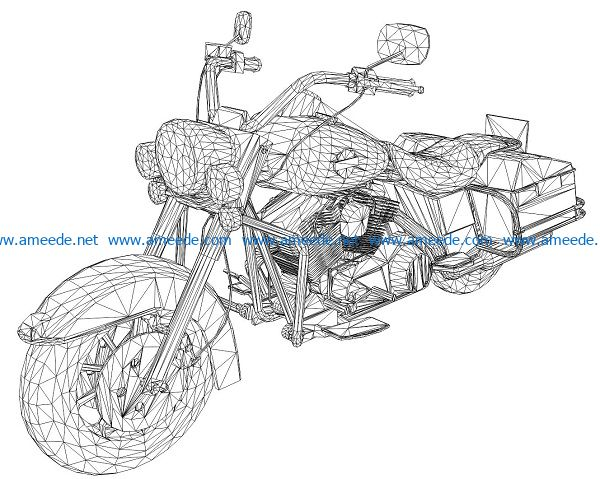 3D illusion led lamp motorbike free vector download for laser engraving machines