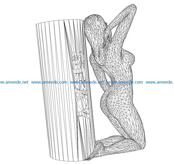 3D illusion led lamp naked girl free vector download for laser engraving machines