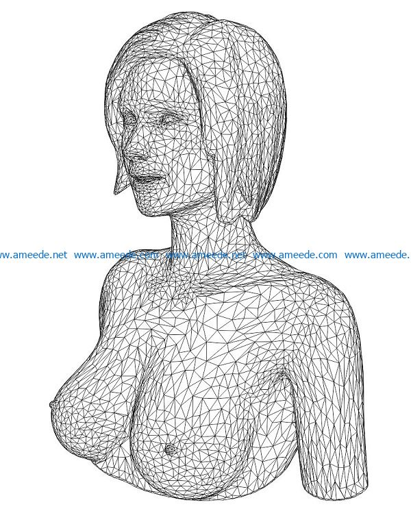 3D illusion led lamp beautiful girl portrait free vector download for laser engraving machines