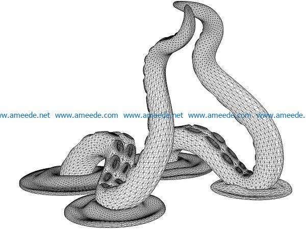 3D illusion led lamp octopus legs free vector download for laser engraving machines