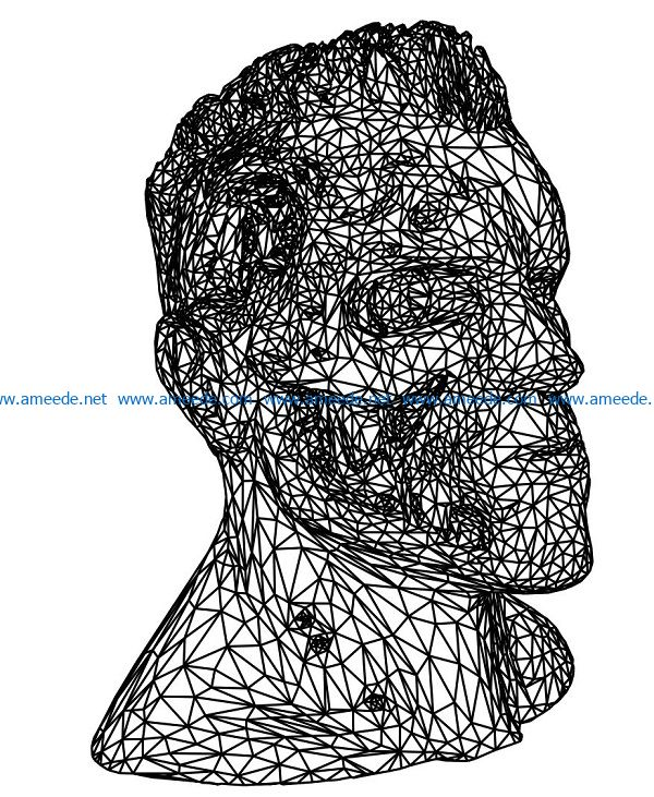 3D illusion led lamp portrait Terminator free vector download for laser engraving machines