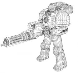 3D illusion led lamp robot with gun free vector download for laser engraving machines