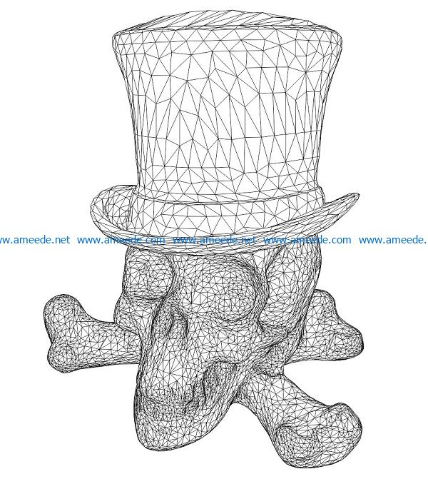 3D illusion led lamp skeleton wearing a hat free vector download for laser engraving machines