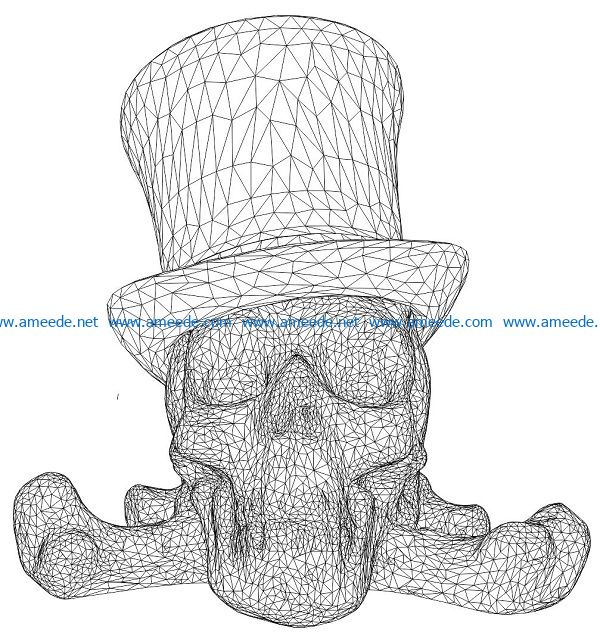 3D illusion led lamp skull wearing a hat free vector download for laser engraving machines