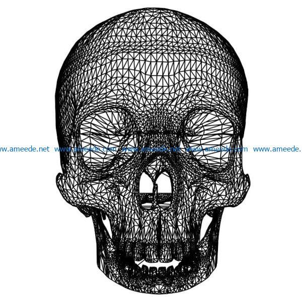 3D illusion led lamp skullcap free vector download for laser engraving machine s