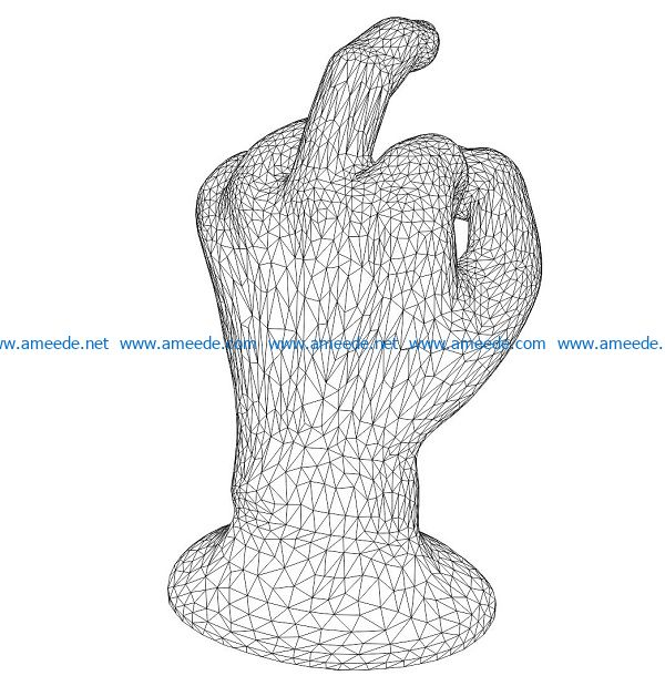 3D illusion led lamp statue of the hand free vector download for laser engraving machines