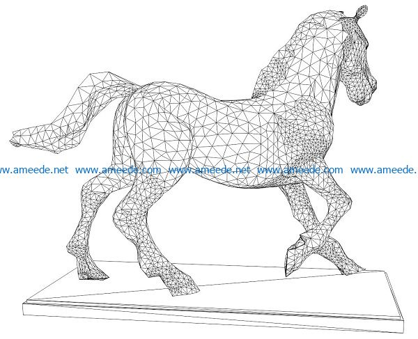 3D illusion led lamp stone horse free vector download for laser engraving machines