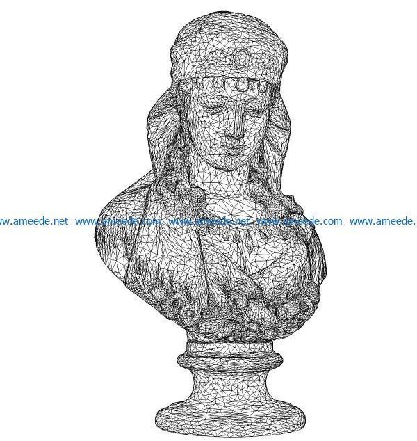 3D illusion led lamp woman portrait free vector download for laser engraving machines