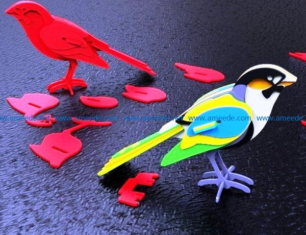 3D puzzle bird file cdr and dxf free vector download for Laser cut