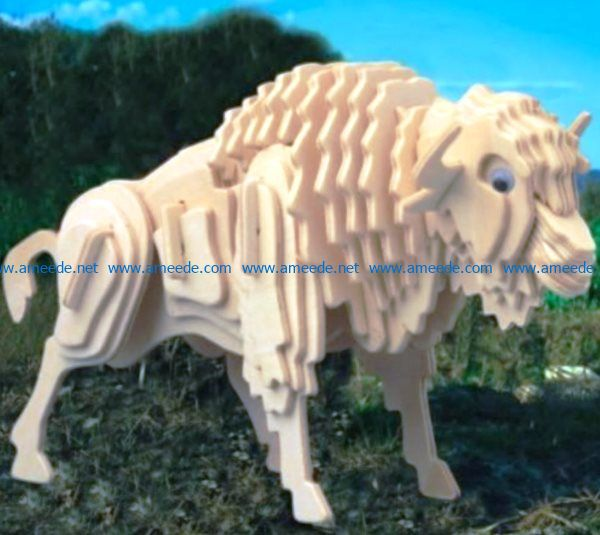 3D puzzle wooden buffalo file cdr and dxf free vector download for Laser cut CNC