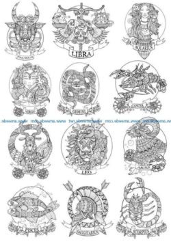 Zodiac file cdr and dxf free vector download for print or laser engraving machines