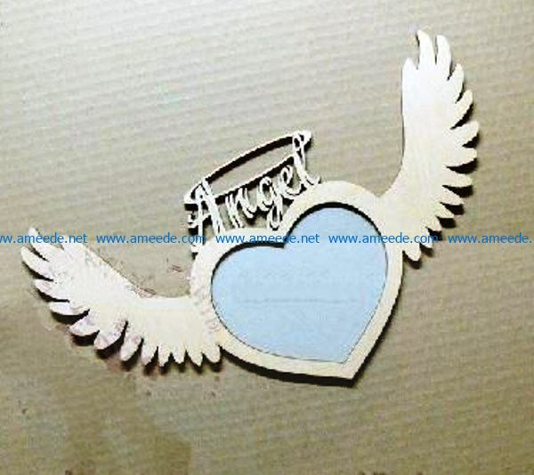 Angel photo frame file cdr and dxf free vector download for Laser cut
