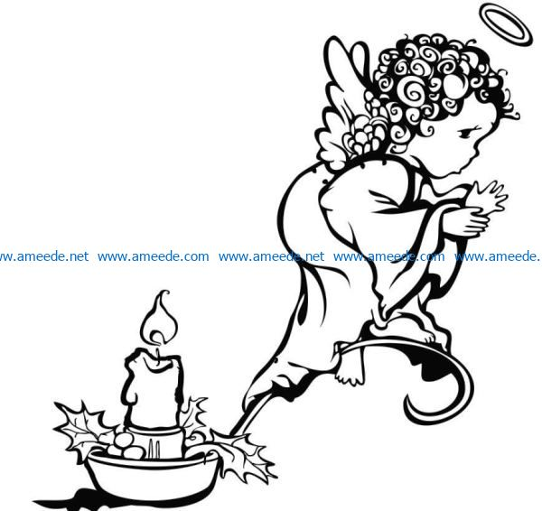 Angels and candles file cdr and dxf free vector download for laser engraving machines