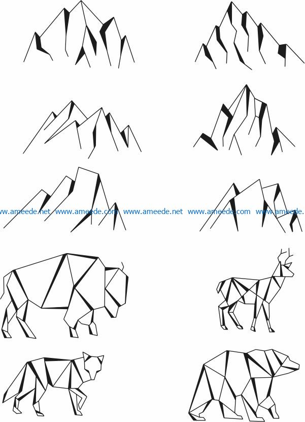 Animals and mountains file cdr and dxf free vector download for print or laser engraving machines