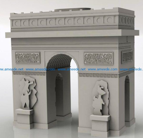 Arch of Triumph file cdr and dxf free vector download for Laser cut