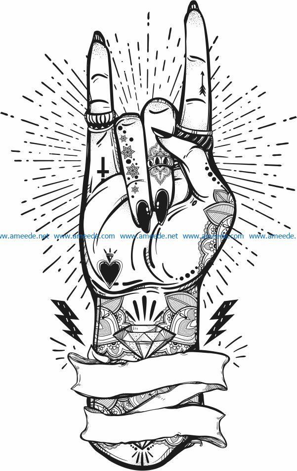 Artistic hand file cdr and dxf free vector download for print or laser engraving machines