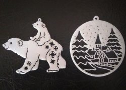 Bear Christmas toys file cdr and dxf free vector download for Laser cut
