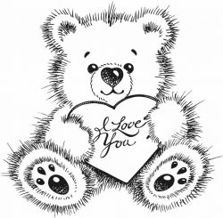 Bear I love you file cdr and dxf free vector download for laser engraving machines