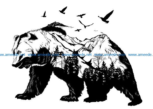 Bear and pine forest file cdr and dxf free vector download for Laser cut Plasma file Decal