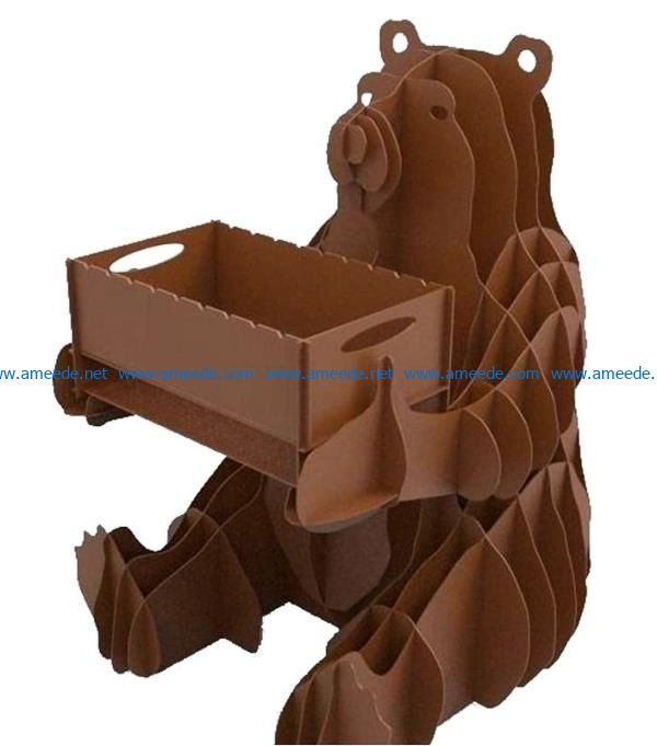 Bear holds the box file cdr and dxf free vector download for Laser cut CNC