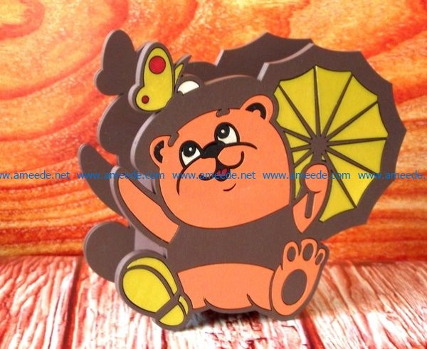 Bear pencil box file cdr and dxf free vector download for CNC cut