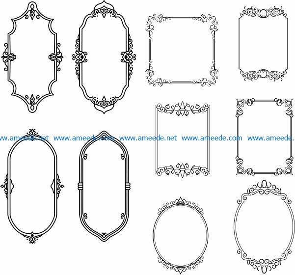 Beautifully decorated frame file cdr and dxf free vector download for Laser cut CNC