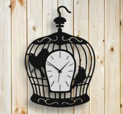 """Bird in a cage"" clock file cdr and dxf free vector download for Laser cut"