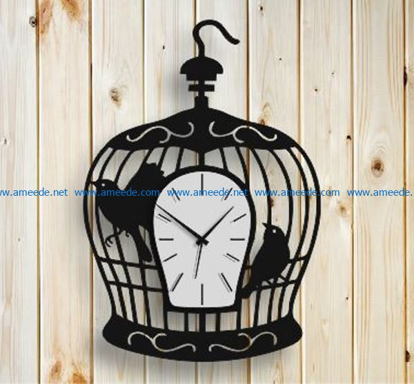 Bird in a cage clock file cdr and dxf free vector download for Laser cut