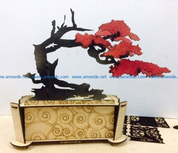 Bonsai model file cdr and dxf free vector download for Laser cut