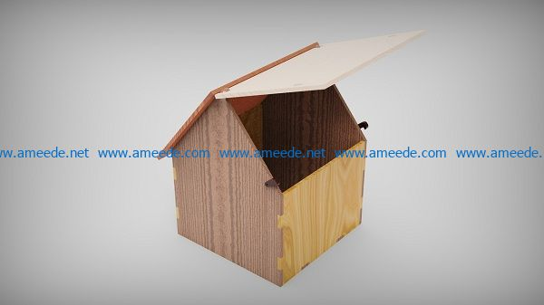 Box shaped house file cdr and dxf free vector download for Laser cut