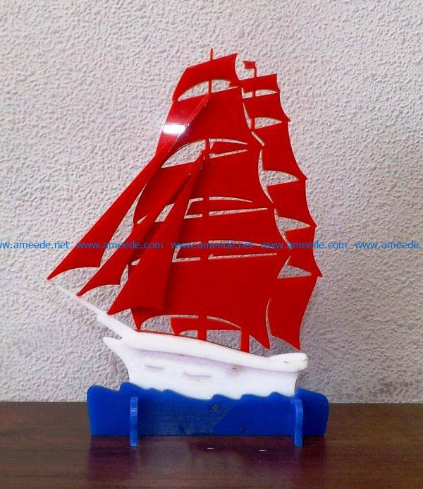 Bright red sails file cdr and dxf free vector download for Laser cut