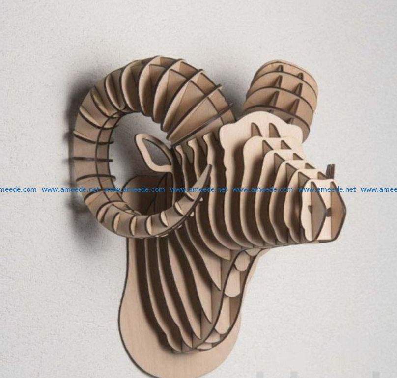 Bull head file cdr and dxf free vector download for Laser cut CNC
