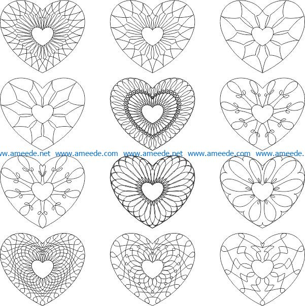 Carved heart pattern file cdr and dxf free vector download for print or laser engraving machines