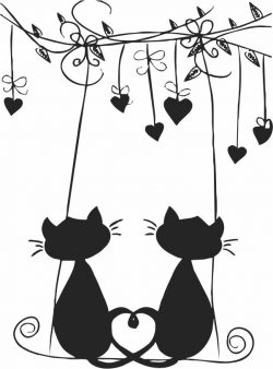 Cat in love file cdr and dxf free vector download for print or laser engraving machines